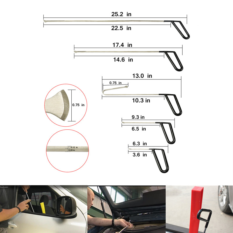 PDR Tools Flat Hooks PDR Paintless Dent Repair Rod Hook Wedge Hail Removal Tool manganese steel tool kit PDR SET
