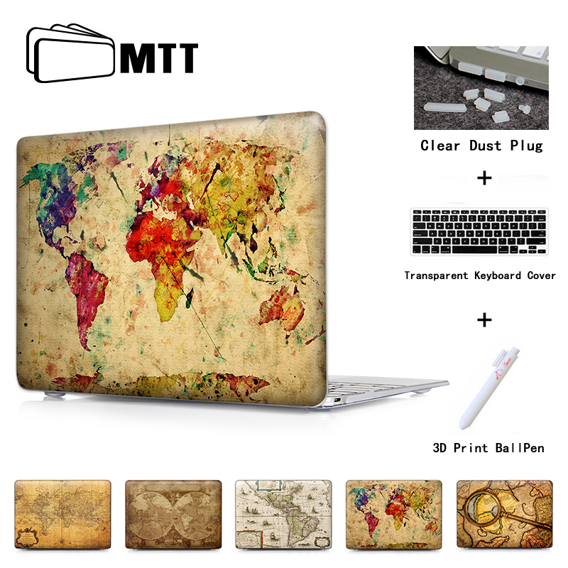 Färgstarka World Map Laptop Skyddande Hårda Fodral Skal För Macbook Air Pro 13 Fodral Pro 13 15 Näthinnan Laptop Skin Protector Shell