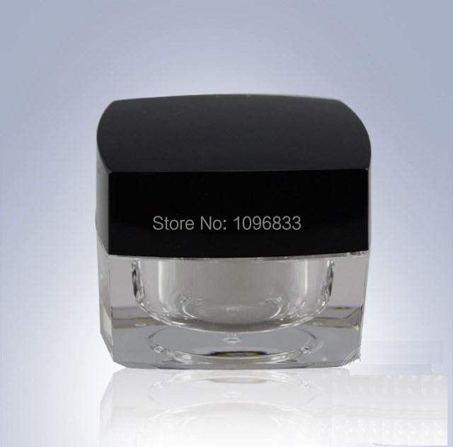 50G Square Acrylic Jar Black Lid, Crystal Vase Bottle, Empty Cosmetic Jars, Cosmetic Cream Container, 15pcs/Lot 6 pcs 15g 30g 50g 1oz empty upscale refillable black cosmetics cream glass bottle container pot case jar with black lid