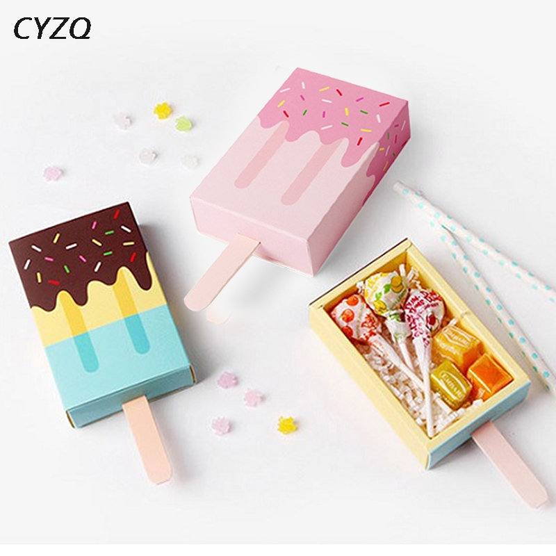 Ice Cream Shape Gift Boxes Baby Shower Party Candy Box Cute Cartoon Drawer Gift Bag For Girl Boy Kids Birthday Party Favors Box