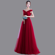 Long Cheap Bridesmaid Dress A-line V Neck Off Shoulder Pleated Tulle Party Dress For Bridesmaid WZ2