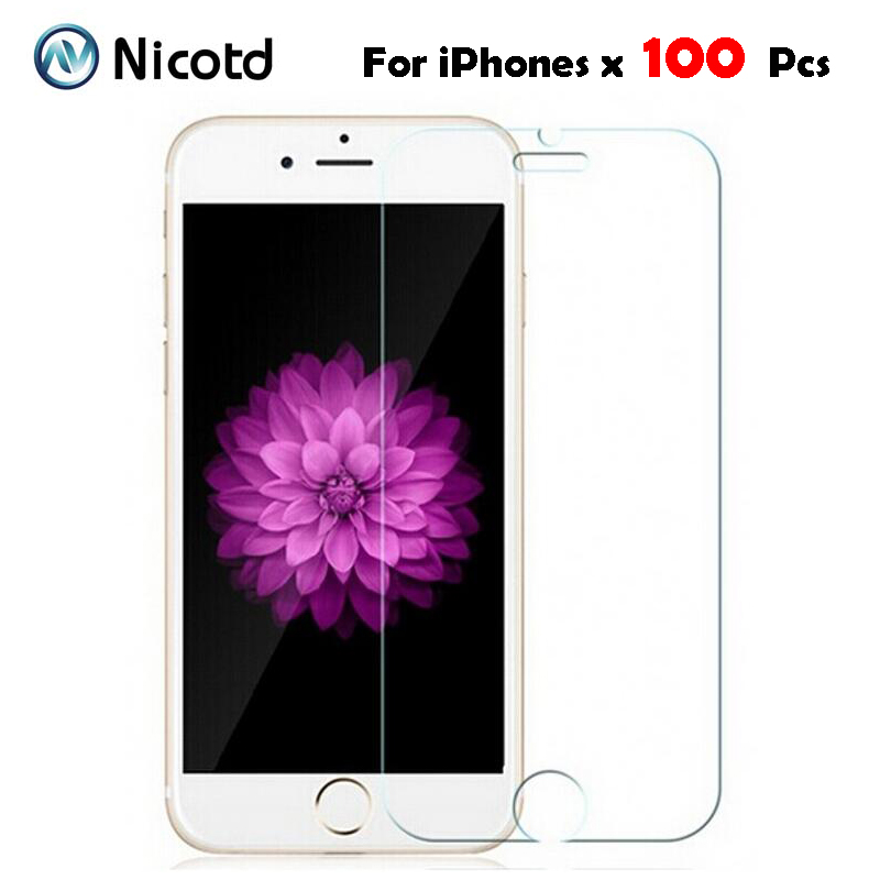 100Pcs Lot 9H Tempered Glass for iPhone X 5 5s 5c 6 6s 7 4s 4