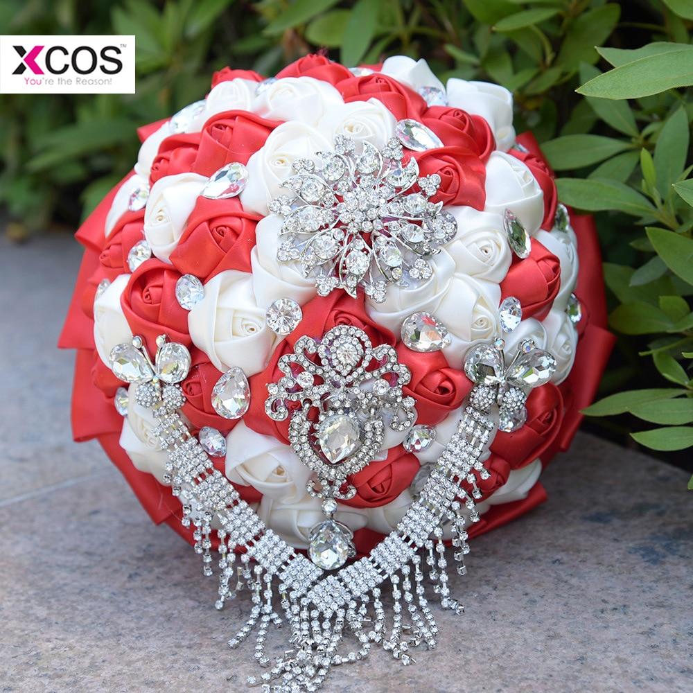 En Stock Bouquet de mariage rouge et blanc perles de cristal de luxe à la main en soie Rose fleur Bouquets de mariée ramos de novia