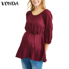 VONDA Maternity 2018 Pregnancy Women Blouses Casual Loose Elegant O Neck Three Quarter Solid Shirts Plus Size Tops Oversized 5XL