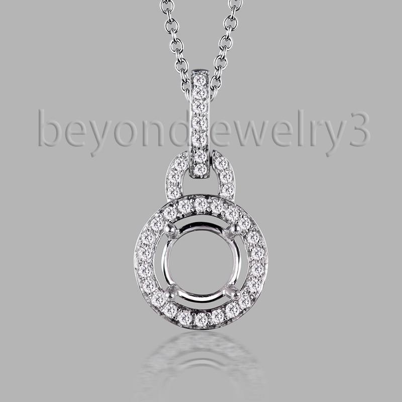 14 К белое золото алмазных подвеска, Твердые 585 золотой кулон, 0.19ct полу-гора подвеска для женщин SR002