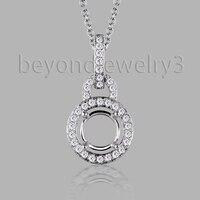 14k White Gold Diamond Pendant, Solid 585 Gold Pendant , 0.19ct Diamond Semi Mount Pendant For Women SR002