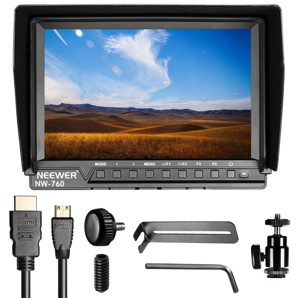 Neewer NW-760 Field Monitor Ultra-thin 7 inches IPS Screen 1080P Full HD 1920x1200 support 4k input HDMI with Histogram lilliput tm 1018 o p 10 1 led ips full hd hdmi field touch screen camera monitor with hdmi input