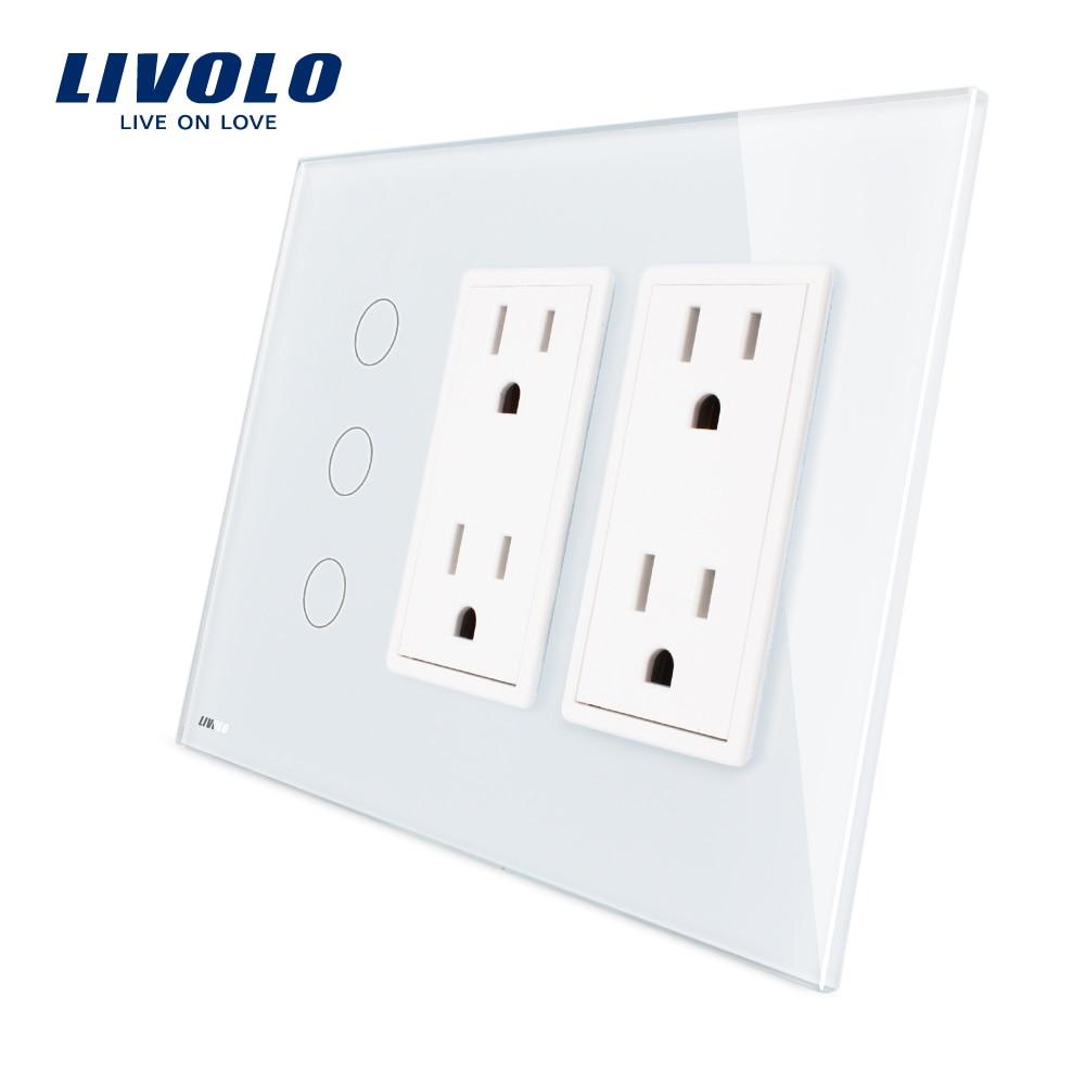 Livolo standard US Vertical, 3 Gang + double Socket NOUS (15A), De Luxe Blanc Cristal En Verre, VL-C503-11/C5C4US-11