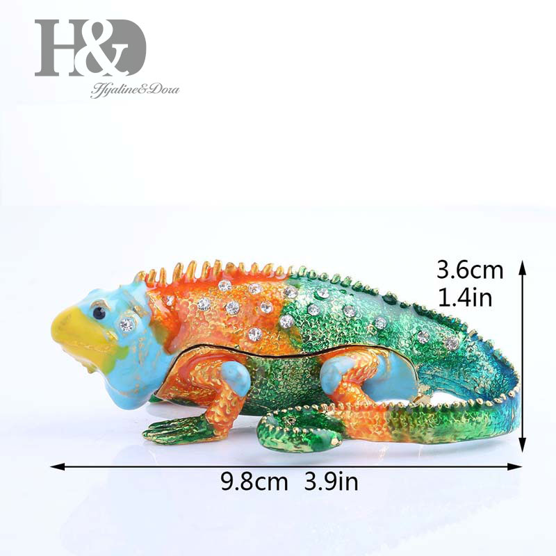 H&D Color Chameleon Trinket Box Hinged Hand-painted Figurine Collectible Ring Holder For Room Vintage Gift For Women/Girls