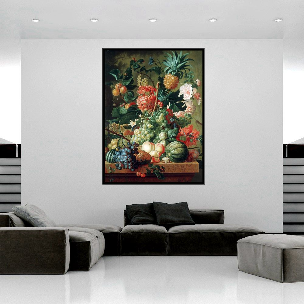 Colorful Many Fruits and Flowers Pineapple Grape Watermelon Peach Oil Painting Print Canvas Art Wall for Home Decoration Gifts