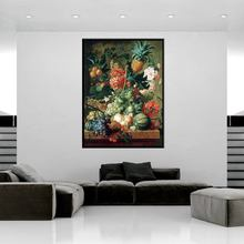 Colorful Many Fruits and Flowers Pineapple Grape Watermelon Peach Oil Painting Print Canvas Art Wall for Home Decoration Gifts pineapple and watermelon print tee