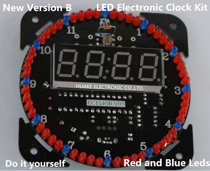 New Version LED Clock Kit Electronic Diy Kit DS1302 Rotation 51 SCM Learning Board