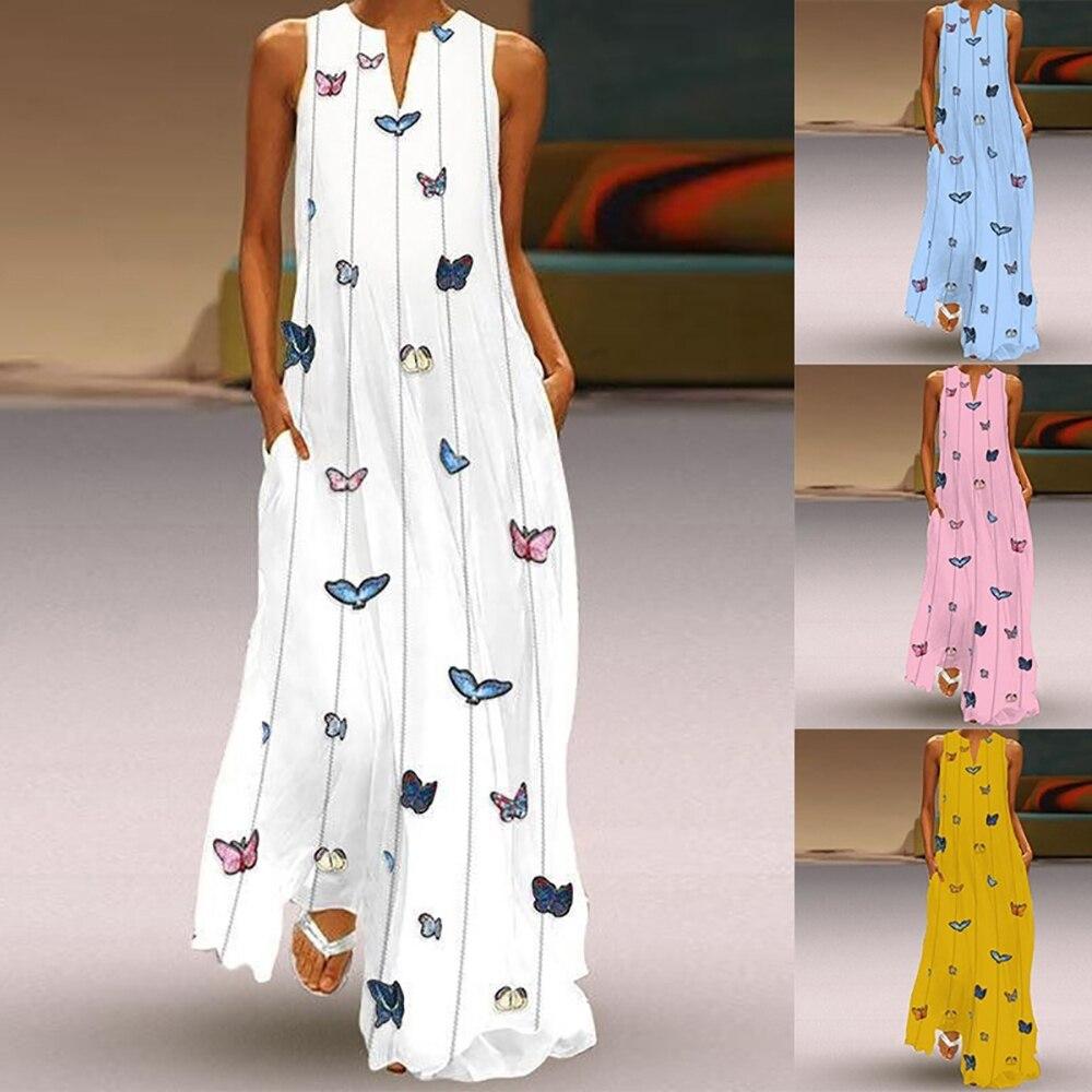 2019 Vintage Butterfly Print Dress Women Summer Sleeveless Loose  Striped Sexy V-neck Beach Tank Straight Dress Plus Size