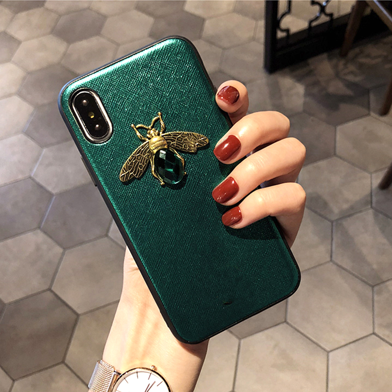 Luxury Fashion brand Diamond Bee Glitte soft case for iphone 6 S 7 8 plus X XR XS Max Cute Hard Cover for iphone 7 8 5 5S SE 6S (7)
