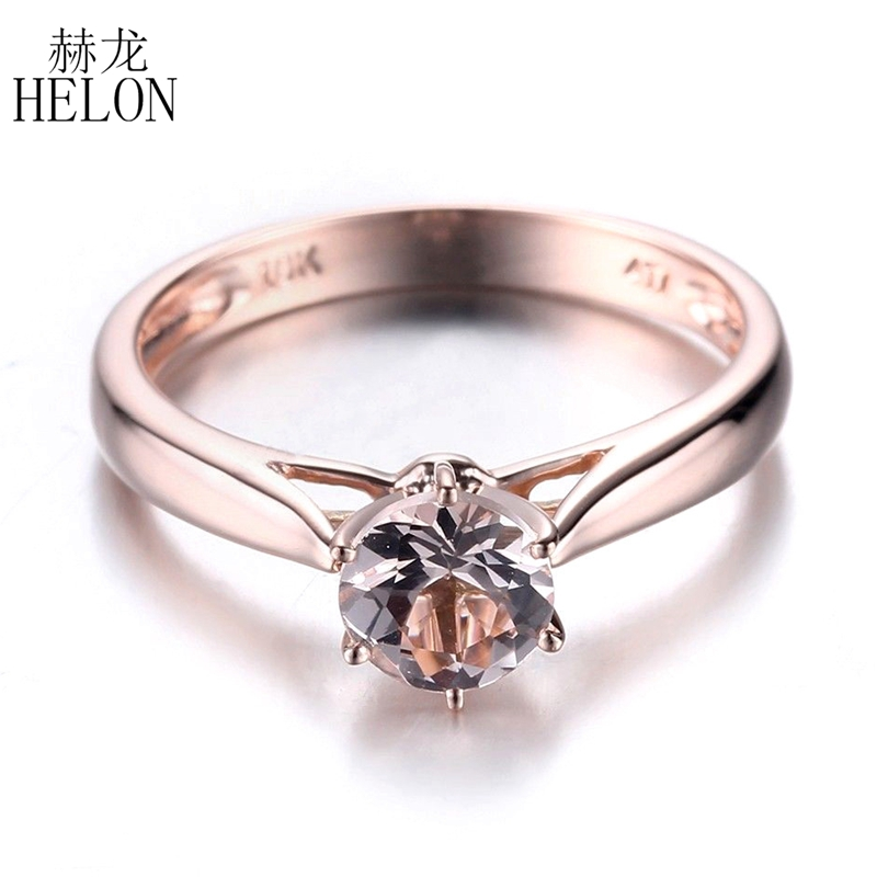 HELON 6mm Round Prong Setting Flawless Morganite Solid 14K 585 Rose Gold Ring Women Jewelry Engagement Wedding Simple Style Ring simple style solid color round hairgrip for women