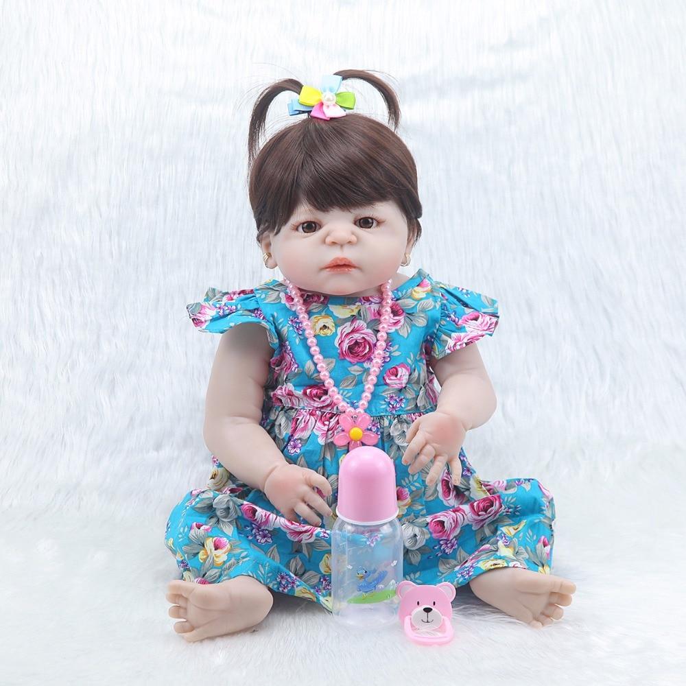 Forrsdor 57 ซม. ใหม่ bebe bonecas จำลองเด็กทารกแรกเกิดดอกไม้สีฟ้ากระโปรงที่ดีที่สุดของขวัญเด็กซิลิโคนเด็กทารก reborn ตุ๊กตา-ใน ตุ๊กตา จาก ของเล่นและงานอดิเรก บน   1