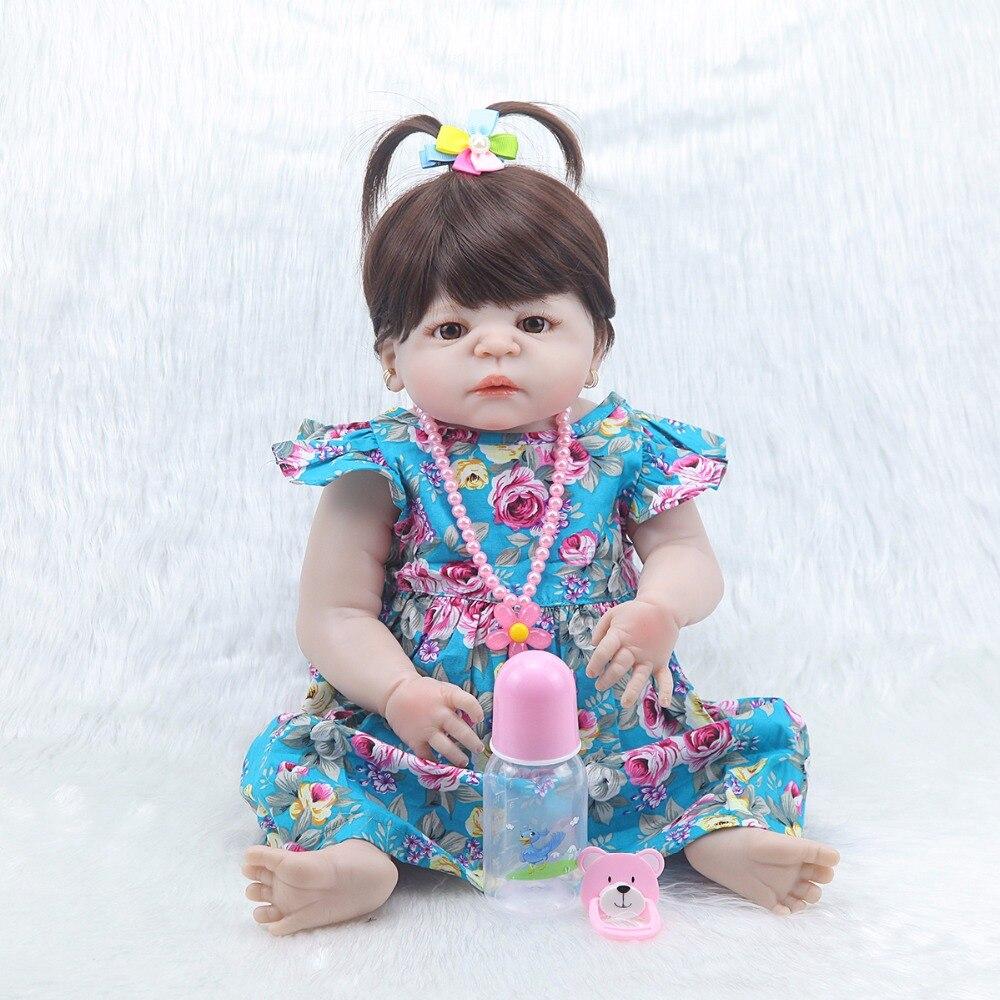 Forrsdor 57 cm Neue bebe bonecas simulation neugeborenen baby mädchen mit Blaue blume rock beste kind geschenk silikon reborn baby puppen-in Puppen aus Spielzeug und Hobbys bei  Gruppe 1