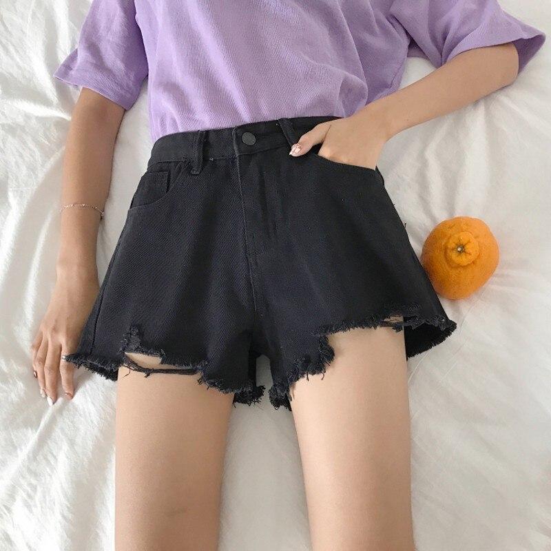 Elegant Ripped Hem Denim Shorts 2019 New Summer Mid Waist Zipper Fly Casual Woman Bottoms Straight Leg Loose Shorts Jeans