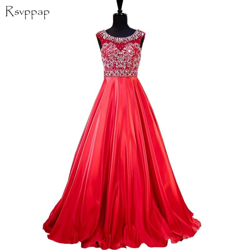 Длинное вечернее платье 2017 Реальный образец Scoop декольте тяжелой верхней бисером спинки пола Длина красные женские вечерние платья