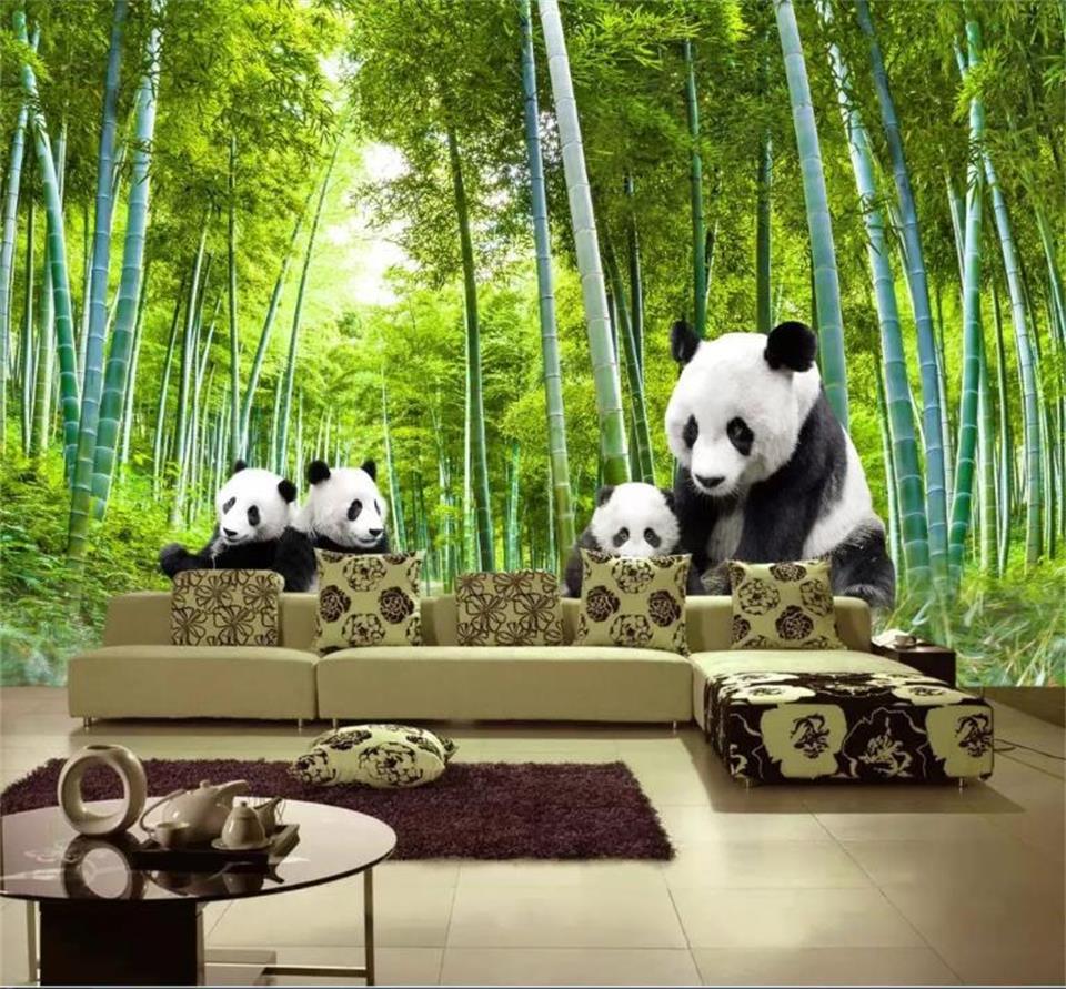 US $14 7 OFF Kustom 3D Foto Wallpaper Lukisan Dinding Ruang Tamu Stiker Dinding Panda Bambu Pemandangan Hutan Gambar 3D Dinding Mural Wallpaper
