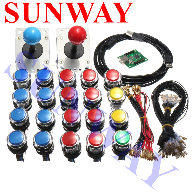 Arcade parts Bundle kit With Zippy Joystick chrome Illuminated LED button Microswitch 2 player USB controller