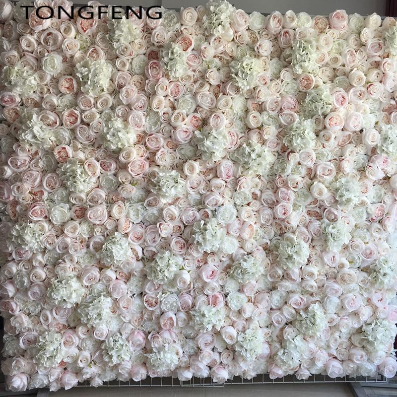 Wedding 3D flower wall panel flower runner wedding Artificial silk rose peony wedding backdrop decoration 10pcs