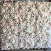 Wedding 3D Flower Wall Panel Flower Runner Wedding Artificial Silk Rose Peony Wedding Backdrop Decoration 24pcs/lot TONGFENG