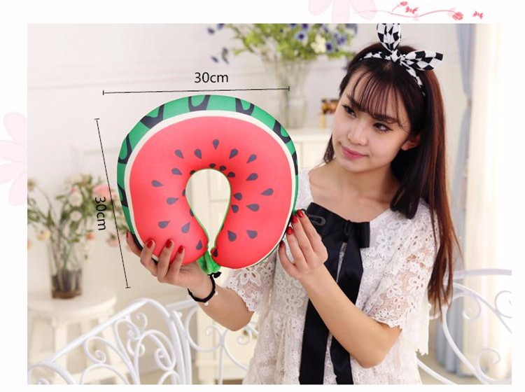2017 Creative New Design Auto Cushion 3D Watermelon U-shaped Neck Pillow Lunch Break Creative Travel Pillow Free Shipping  1