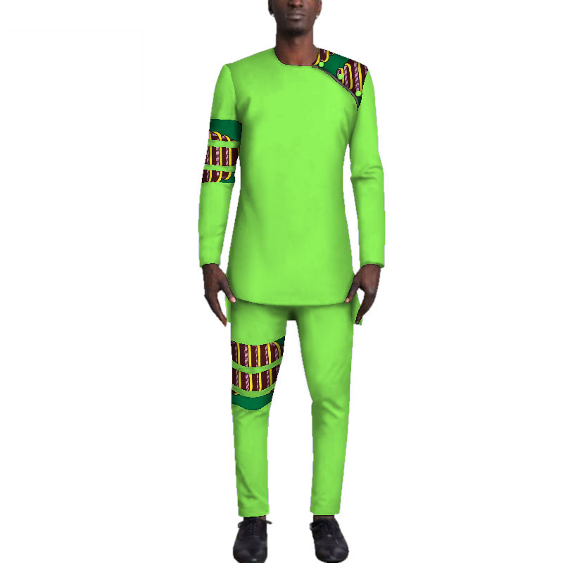 Casual-Mens-African-Clothing-Bazin-Riche-Patchwork-Top-Shirt-and-Pants-for-Men-Custom-100-Cotton(7)