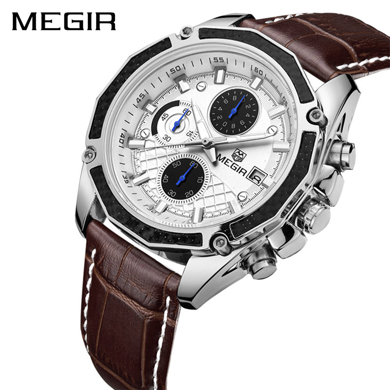 MEGIR Top Brand Quartz Men Watches Fashion Genuine Leather Chronograph Watch Clock Male Wristwatch Reloj Hombre