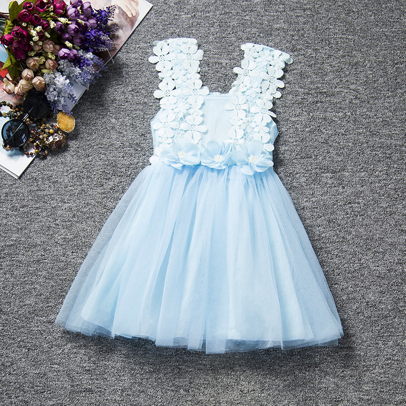 Free shipping2018 autumn Korean style new children's wear girl's dress lace hook yarn children's vest princess dress JQ-2023