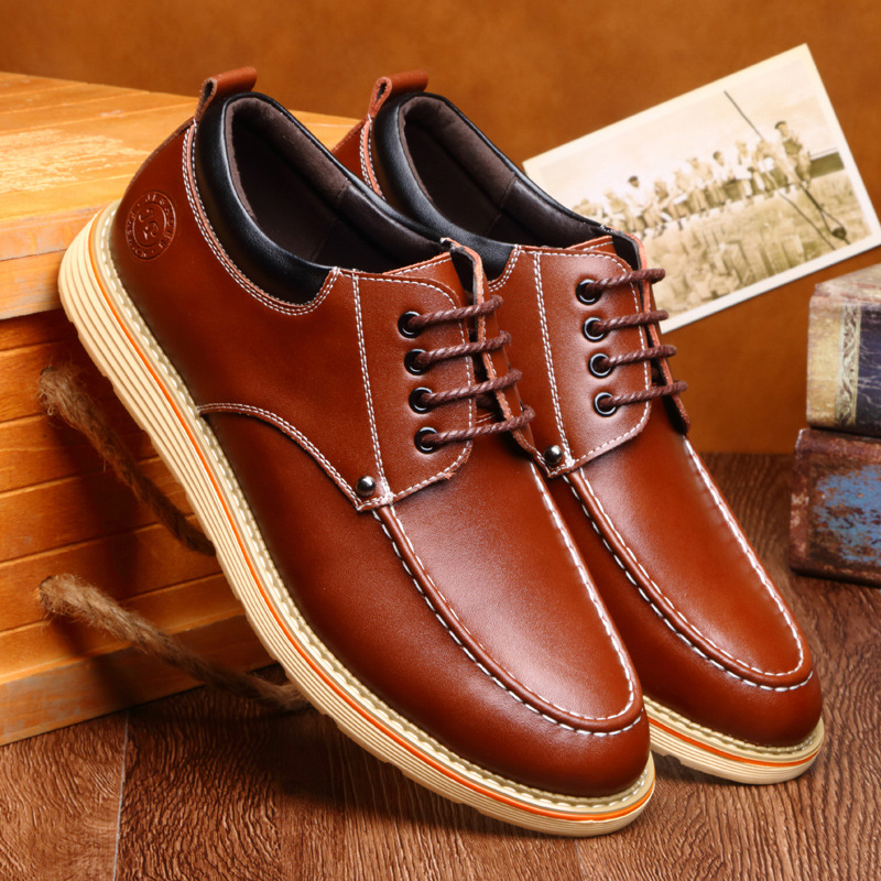 Free shipping Spring leather men 's shoes Full grain leather business casual shoes