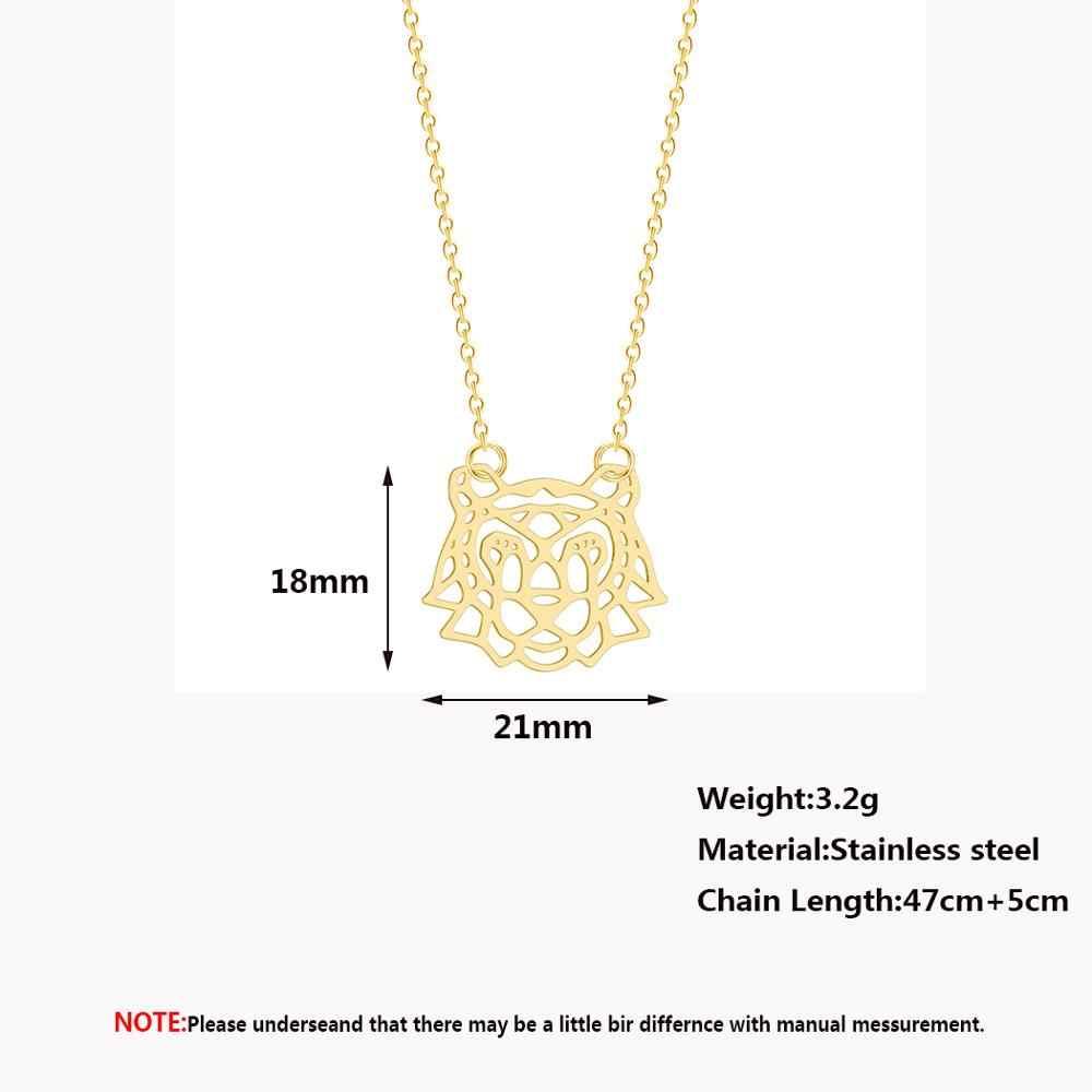 Chandler Stainless Steel Gold Color Origami Tiger Necklace Vermeil Animal Necklaces Pendants Vintage Retro long Women Colier