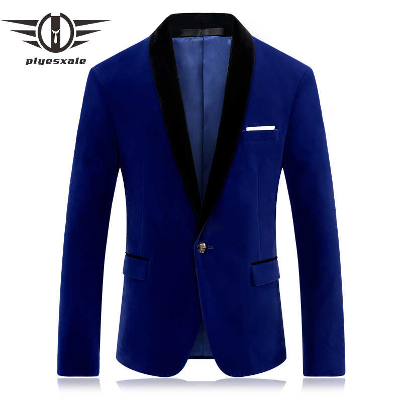 Plyesxale Brand Red Blue Velour Blazer Men Slim Fit Mens Velvet Blazers Casual Suit Jacket Stylish Prom Stage Clothing Q253