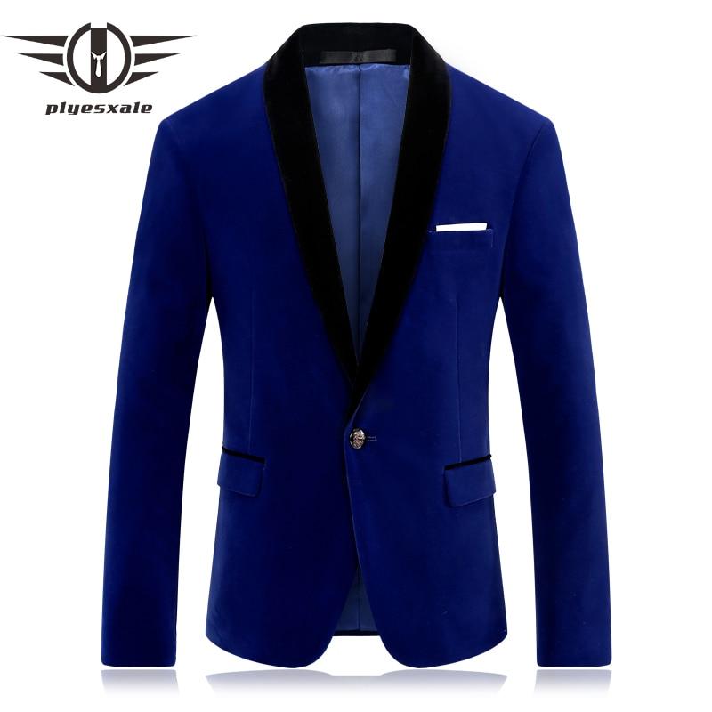 Plyesxale מותג גברים בליזר אדום הכחול Velour Slim Fit Mens מקטורן החליפה מקרית טרייל אופנתי לנשף קטיפה בגדי שלב Q253