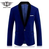 Plyesxale Brand Red Blue Velour Blazer Men Slim Fit Mens Velvet Blazers Casual Suit Jacket Stylish Prom Stage Clothing Q253