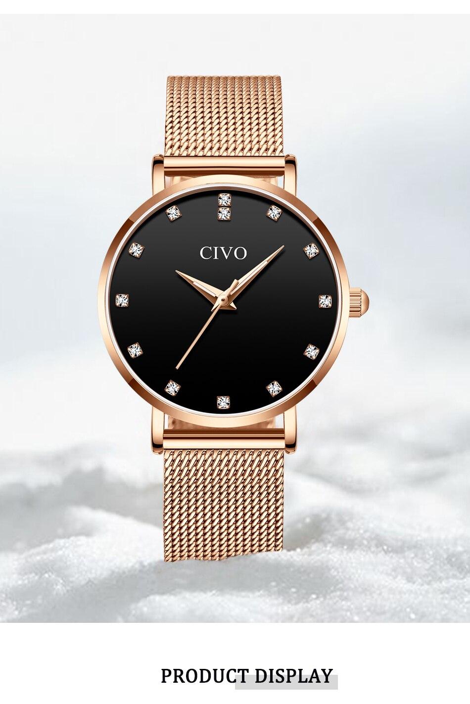 CIVO Nova Moda Montre Femme Senhoras Relógios