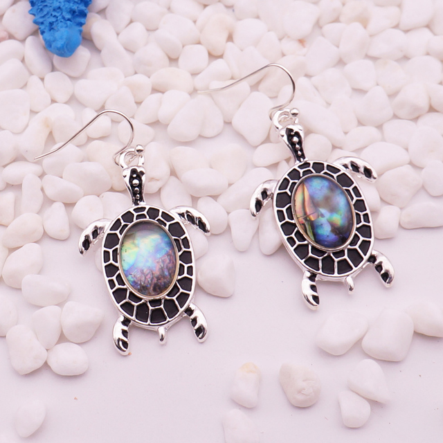 Women's Sea Shell Turtle Drop Earrings 2