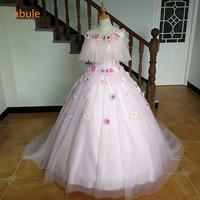 ABULE women beautiful colorful flowers wedding dress pink princess lace bride dress lace up vestido de noiva 2017 plus size