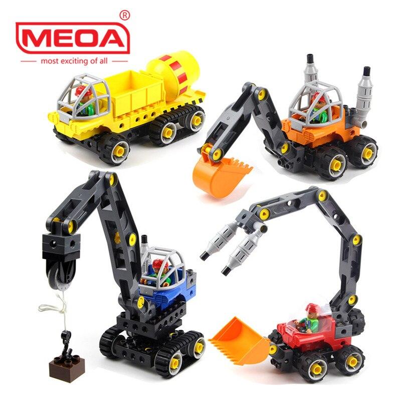 Творческий строительный Конструкторы автомобильный набор 5 в 1 инженерных грузовик кирпичное здание Совместимость legoe duplo игрушка для детей...