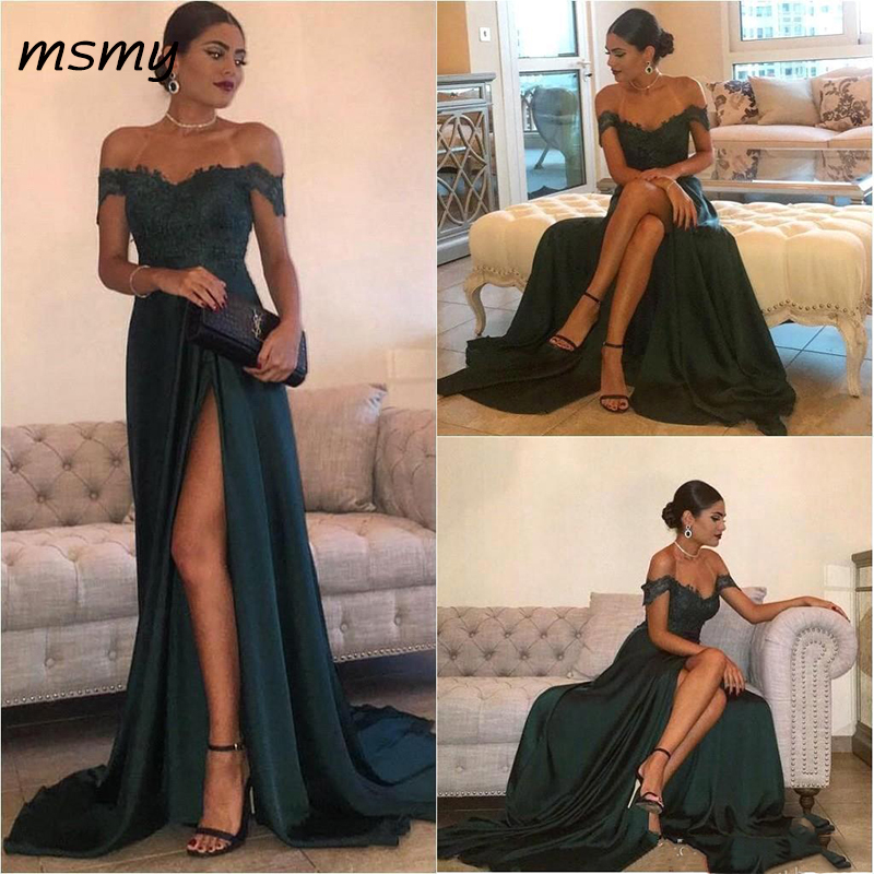 Dark Green 2019 Sexy Evening Dresses A Line Off Shoulder Lace Appliques High Side Split Elegant Long Prom Dress Formal Gown