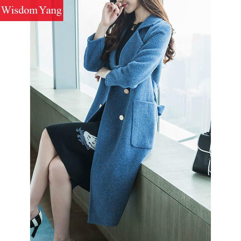 Pardessus Manteau Coat D'hiver Casual Élégantes Longue Laine Ceinture Survêtement Blue Femelle De Alpaga Femmes Dames Manteaux Bleu Bureau Femme Mouton pGzqSMVU