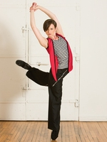 Female Black And White Striped hip hop Dance Suit Suit Vest Sweater Sportswear