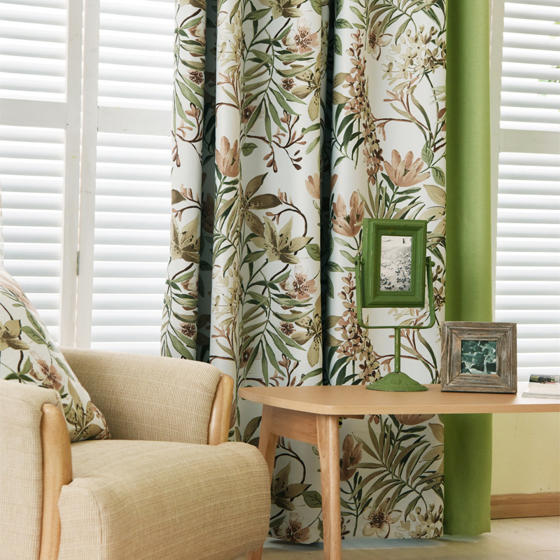 New Arrival Modern Fresh Style Green Leaves Floral Printed Cloth Curtain Polyester Blockout Cloth Curtain for Living Room
