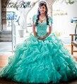 2016 Novo Cristal Cintilante Vestido Quinceanera Organza Ruffled Beading Prata Vestidos Debutantes 15 Años Vestidos De Baile Turquesa
