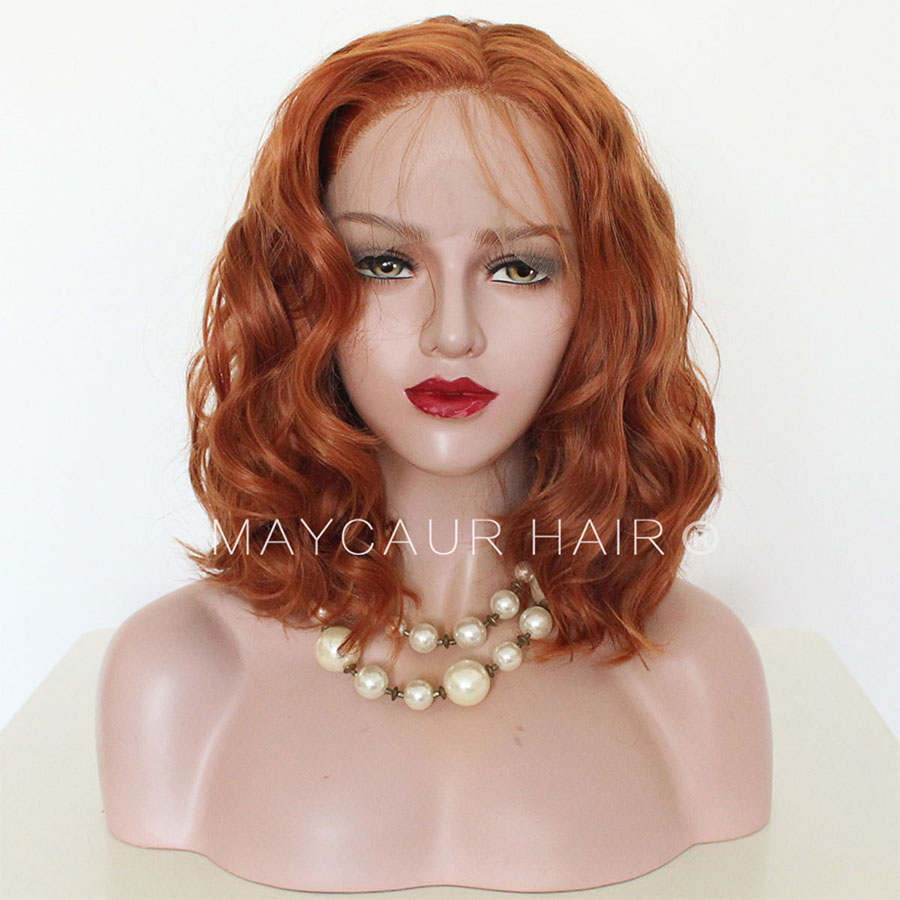 Maycaur Orange Color Front Lace Bob Wigs Glueless Short Wavy Hair Synthetic Lace Front Wigs for Black Women 14 Inch