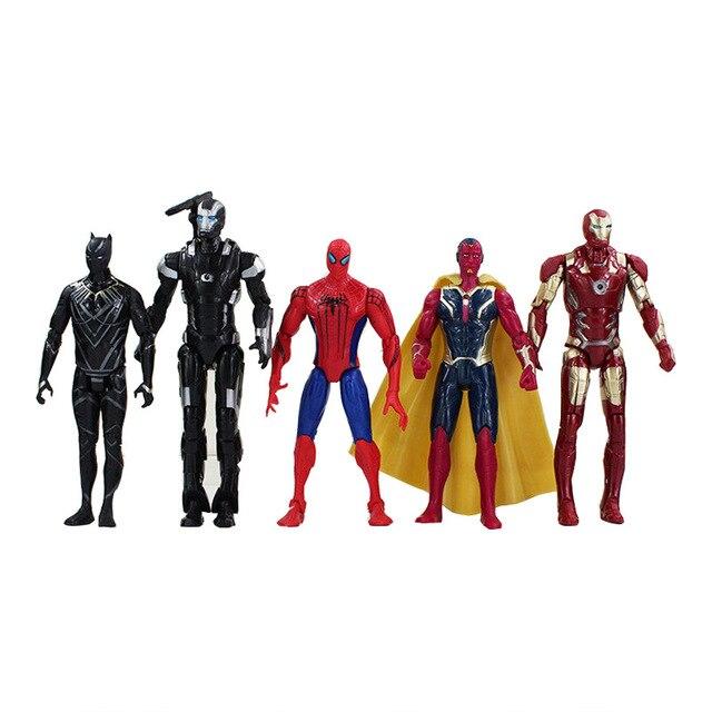 5 pçs/set 3 Marvel avengers Superheroes Spiderman Homem De Ferro Black Panther Vision PVC Action Figure Collectible Brinquedos Para Crianças