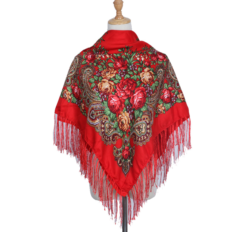2018 Brand Fashion Shawl Scarf Long Winter Tassel Bohe Cotton Square Pattern Scarf Women Printed Oversize Wraps Shawls Scarves