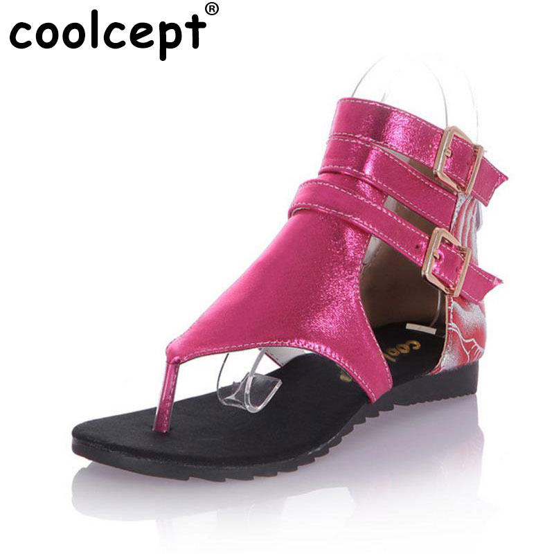 Coolcept Women Flats Buckle Stitching Flat Sandals Shoes Woman Thong Gladiator Sandals Women Sandalias Mujer Size 34-43 PA00415 summer high quality women flats sandals plus size 34 43 new fashion casual ladies sandalias comfort mujer gladiator woman shoes