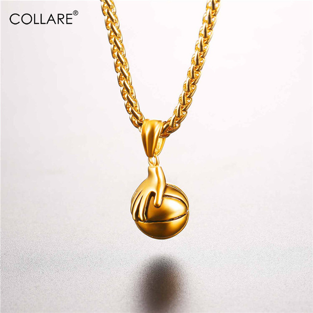 Collare Ball Pendant Stainless Steel Gold Color Hand Basketball Necklace  Women Sport Gym Necklaces   Pendants Men Jewelry P807 5d6e26901c